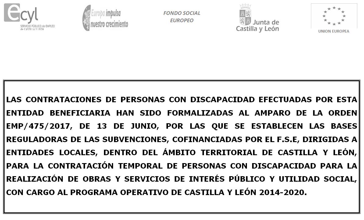 Contratación de dos personas con discapacidad a través de la subvención publicada por la Consejería de Empleo, ORDEN EMP/475/2017